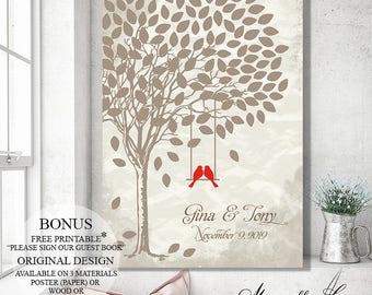 Custom Guest Book Wedding Tree Wedding Canvas, Wedding Guest Book Alternative Wedding Gift for Bride, Wedding Signs Wood Guest Book Sign