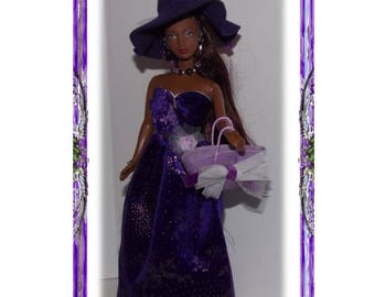 """Witch - fits like Barbie Clothes on 11.5"""" to 12"""" tall fashion dolls. Purple Shimmer Royal Witch Halloween Costume Dress, Hat, Necklace, Bag"""