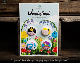 Wonderland Pin Badge Collection, Alice in wonderland badge set, Alice in Wonderland pin, Alice in wonderland gift, Cheshire cat pin badge