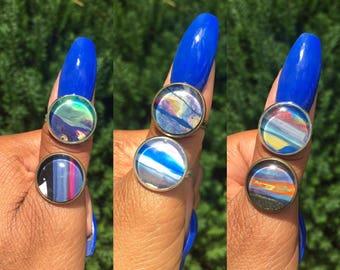 Handmade Rings, Handmade Jewelry, 16mm Ring, Sterling Silver, Bronze Rings, Adjustable Rings, Jewelry, Rings, Resin Jewelry, Womens Rings