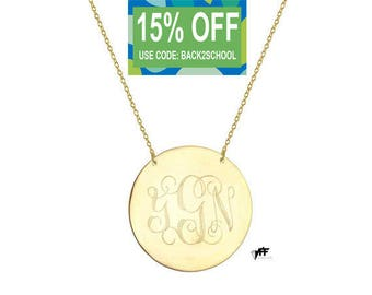 """Monogram Disc necklace - 5/8"""" personalize gold monogram necklace gold plated 18k on .925 silver"""