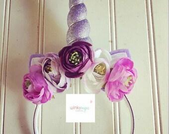 Plum perfection floral unicorn headband/ears/ws171