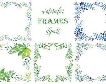 Hand painted Watercolor Square Frames for greeting card, digital card, clipart, printable, instant download, png, botanic, wreath