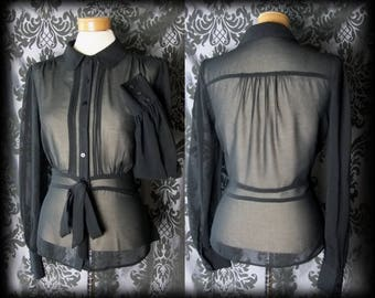 Gothic Black Sheer GOVERNESS Sash Tie Deep Cuff Blouse 12 14 Victorian Vintage