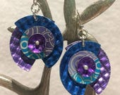ON SALE Turquoise Tanzanite Circle  Blue Embossed Waffle Anodized Aluminum Dapped Riveted Sterling Earrings