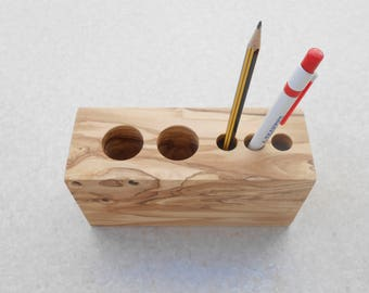 Organizer, Pencil Holder, Olive Wood Desk Organizer, Desk Accessories, Pencil Cup, Wooden Pen Holder, Wood Desk Storage, Timber Caddy