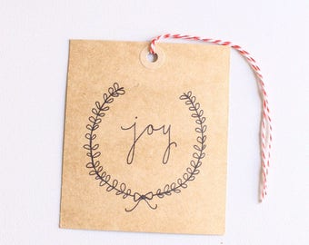 Christmas hand drawn gift tags, printable gift tags, joy, instant digital download