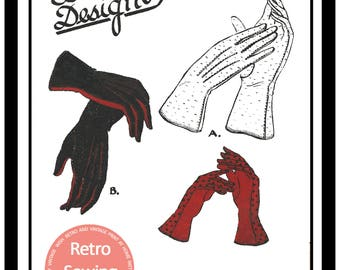 1940s Ladies Gloves Vintage French  Pattern - PDF Sewing Pattern -  Instant Download
