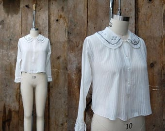 25% OFF ON SALE - c. 1920s embroidered blouse + vintage 20s white cotton peter pan collar top