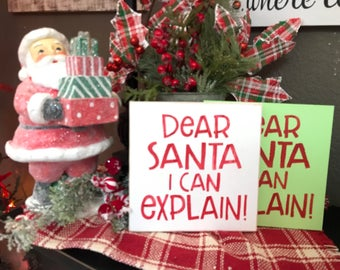 Small Square Dear Santa I Can Explain Sign | Hand Painted Wood Sign