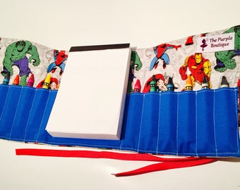 Super Heroes Crayon roll with Doodle pad
