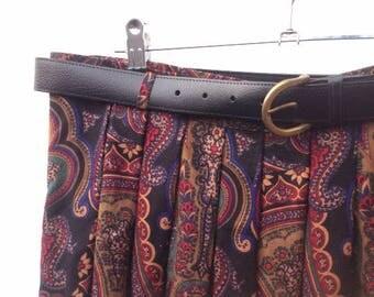 Vintage Skirt   Paisley Print   Pleated