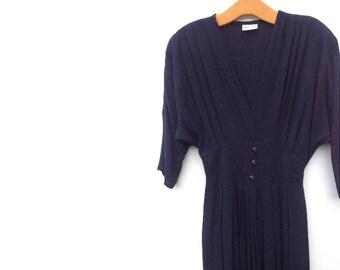 80's Batwing Dress | Navy | Crinkle