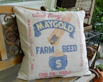 Vintage Seed Sack Pillow Cover - 24 x24 with Beige Canvas
