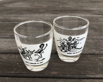 Set of two vintage shot glasses from the 60s