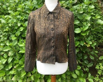 Leopard Blouse // Medium // Large // Black // Gold // Shirt // Long Sleeve // Peter Pan collar // Open back //