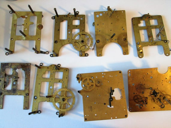 8 Large Partial Antique Solid Brass and Steel Clock Works and Frames for your Clock Projects,  Steampunk Art