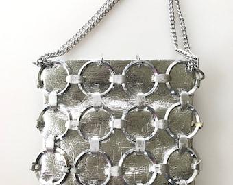 Iconic 1960s silvertone modernist chainmail circles handbag