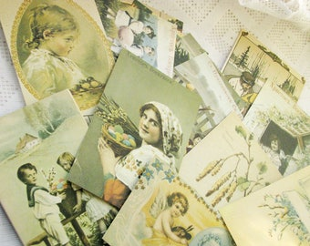"""Set of 15 Antique reproduction post cards """"Happy Easter! """". Not used. Vintage Easter decor, holiday decor. Made in USSR"""