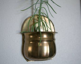 Vintage Brass Wall Hanging Planter
