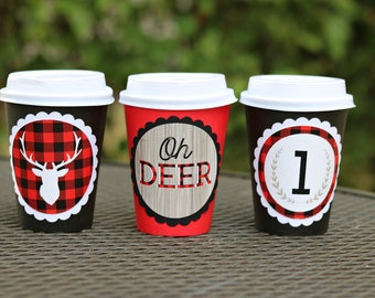 BOY LUMBERJACK BIRTHDAY Party Hot Cocoa Cups, Deer Coffee Cups, Hot Chocolate Bar, Our Little Deer, Winter Boy Birthday, Buffalo Check