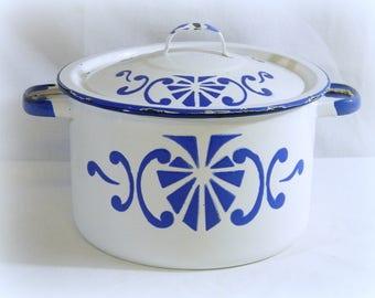 Enamel Stock Pot, Lidded Enamel Pot, Enamel Cookware, Enamel Cooking Pot