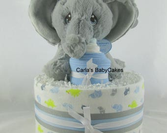 Elephant diaper cake   Boy diaper cake   Baby shower decoration   Baby diaper cake   Baby shower gift   Unique baby gift   New mom gift