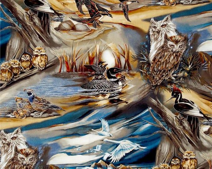 North American Wildlife by Robert Kaufman Cotton Fabric 1/2 Yard Cut New