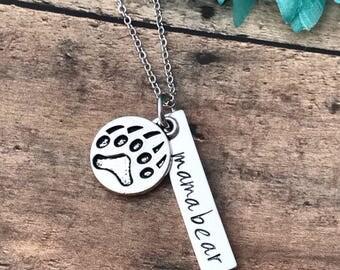 mama bear necklace - mother - mama bear - bear paw - mom necklace - protective mama bear - bear necklace - mother gift
