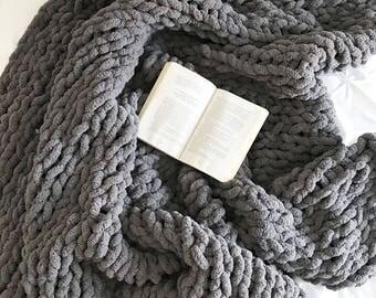 Huge Knit Chenille Blanket Throw | Dark Grey | THE GRANDE