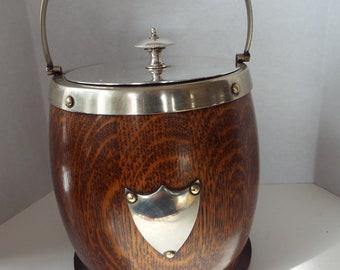 antique English oak biscuit barrel ice bucket  with porcelain liner EPNS silver plate
