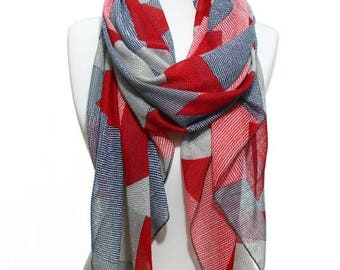 Red Navy Beige Zig Zag Geometric Print Lightweight Scarf Spring Summer Woman Fashion Accessory Scarves Women Gift Ideas For Her Him Mom