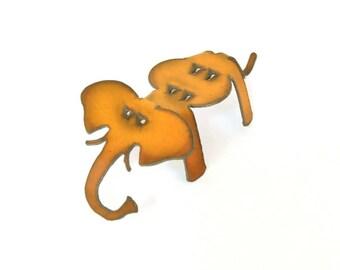 Elephant Origami Folded Rusted Metal Figurine