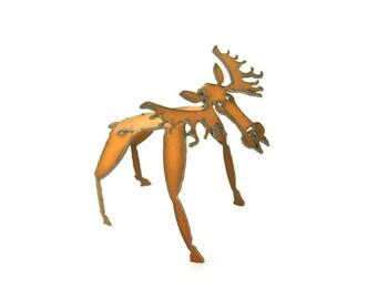 Moose Origami Folded Rusted Metal Figurine