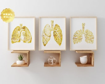 Lung Anatomy Art Print Set - Lung Art - Medical Student Gift - Anatomy Decpr - Medical Art - Medical Decor - Set of 3 - Medical Gift