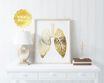 Lung Anatomy Decor - Gold Foil - Anatomy Decor - Lung Art - Med Student Gift - Medical Office Decor - Anatomy Wall Art - Medical Decor