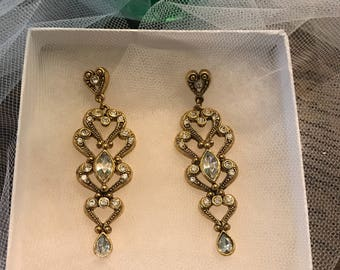 Crystal Candelier Earrings Gold Tone