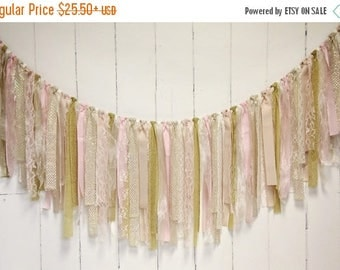 4th of July Sale-10% off Rag Tie Banner, Lace, Champagne, Gold, Blush, Ivory, Rag Tie Garland, Fabric Garland, Photo Prop, Wedding, Bridal S