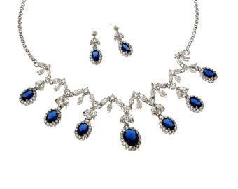 Sapphire Blue Cubic Zirconia Necklace and Earrings Set, Wedding Jewelry Set, CZ Drop Cascade Set, CZ Paved necklace, Floral earrings