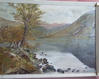 Vintage Original Oil Painting Lake Landscape