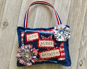 Patriotic Sign/ stuffed pillow hanger/ summer decor / red white and blue