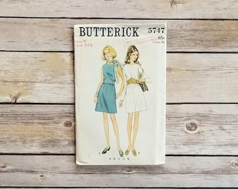 Belted Tea Dress Butterick 5747 Misses A Line Dress One Piece Dress 60s Cute Pattern Sewing Templates Vintage Fashion Retro Sewing Pattern