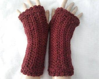 Crochet Fingerless Wrist Warmers: Chestnut Heather