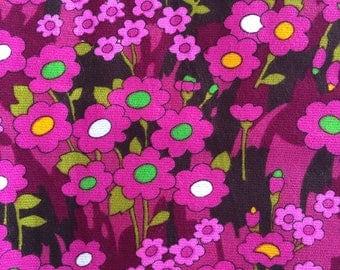 Vintage Magenta flower print winter cotton fabric