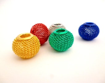 Kit Large Hole Metal Beads_ PP5418008/682436_Large wire Colorful Beads of 12x10 mm _ hole 4/5 mm _ pack 5 pcs