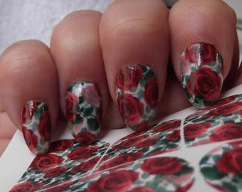 ON SALE RED Roses Nail Art Decals (Rrf) - Full Nail Wrap Decoration Long and Short Nails - Waterslide Decals -Not Sticke