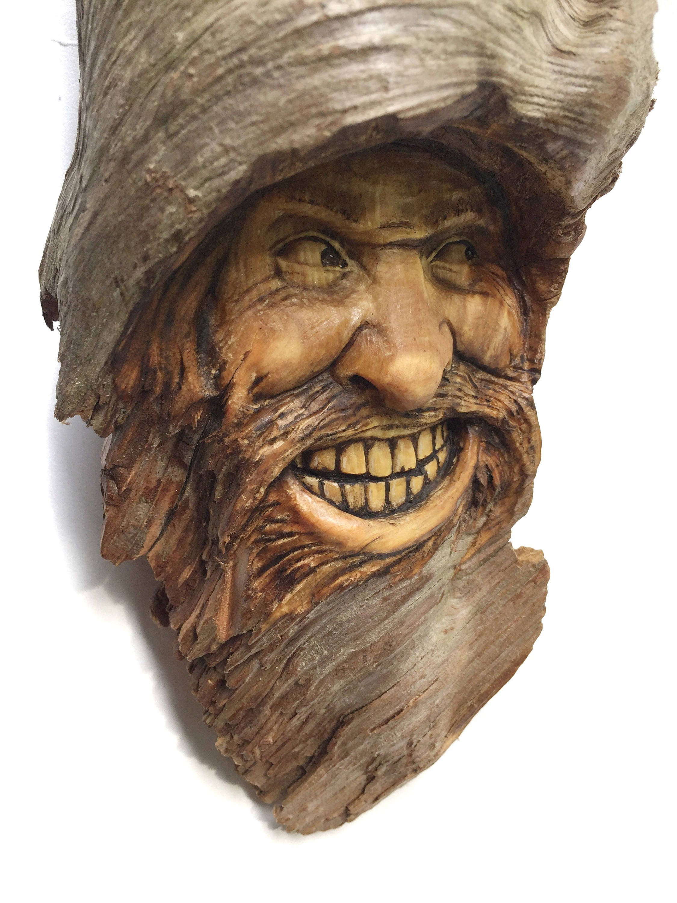 Wood Spirit Wood Carving Mountain Man Face Home Decor