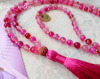 Hot Pink Diffuser Mala Beads | Pink Agate Essential Oil Diffuser Necklace | Aromatherapy Necklace | Essential Oil Necklace