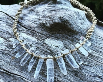 Handmade Hemp Macrame Necklace with Quartz Crystal Semi Precious Stone Beads