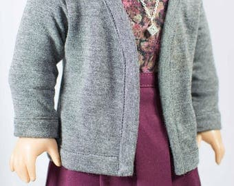 SKIRT in Burgundy, Gray JACKET Cardigan, Floral Print TEE Top and Necklace for American Girl or 18 Inch Doll